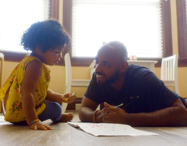 Garry Horton spends time with his daughter, Zola.