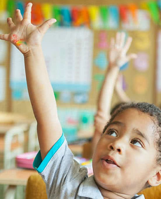 Kid Raising His Hand in Class