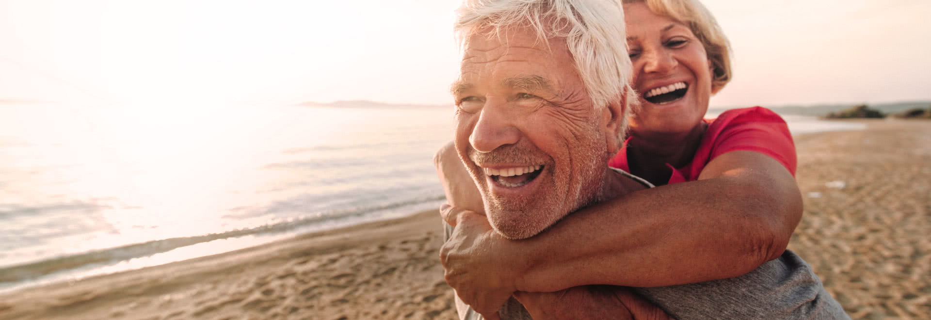 Elderly couple on a beach